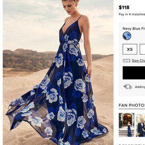 Lulu's Blue Rose Maxi Dress